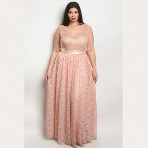 Dresses & Skirts - Plus Size Formal Blush Lace Formal Maxi Dress Gown